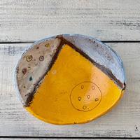 楕円鉢小 オレンジ 岩元鐘平