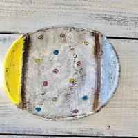 楕円鉢小 黄×青 岩元鐘平