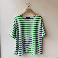●送料無料 クリックポスト使用●<women>Le Minor(ルミノア)半袖 ワイドバスクシャツ (LEF101004)  /ホワイト×グリーン