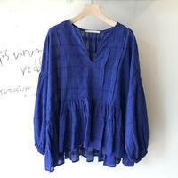 <women>ne Quittez pas(ヌキテパ)チェック織り柄・ピンタックギャザーブラウス(010101303) / ブルー