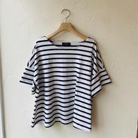●送料無料 クリックポスト使用●<women>Le Minor(ルミノア)半袖 ワイドバスクシャツ (LEF101004)  /ホワイト×ブラック