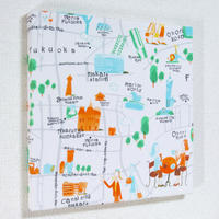 コーディニア  インテリアパネル(福岡地図)オレンジ