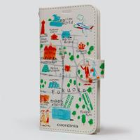 コーディニア iPhone ケース(手帳型)福岡地図 オレンジ