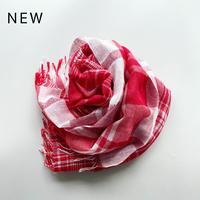 [6502] コットン/リネン タータンチェックストール / レッド