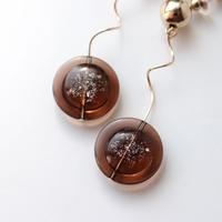 [ brown / gold ]  glitter une pierce/earring