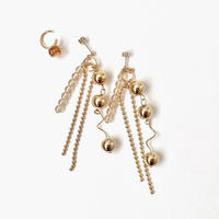 [ gold ] Ball chain pierce/earring + ear cuff set