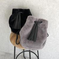 柔らかな肌触り!巾着ファー2WAYバッグ(2color)【クリックポスト対象商品】