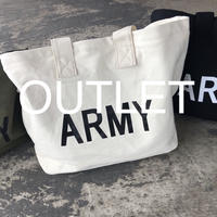 【OUTLET】ARMYロゴトートバッグ/エコバッグ(アイボリー・ブラック)【クリックポスト対象商品】