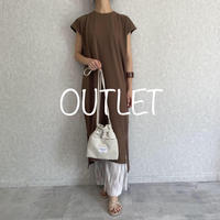 【OUTLET】裾スリットフレンチコットンワンピース(2color)