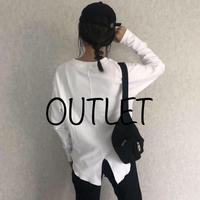 【OUTLET】袖リブ・バックスリットプルオーバー(ホワイト)