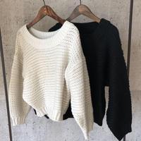 1月17日再入荷!【期間限定価格】ボリューム袖シンプルざっくりニット(2color)