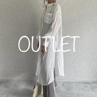 【OUTLET】シアーバンドカラーパイピングデザインシャツワンピース(アイボリー)