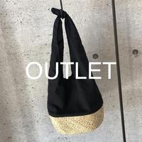 【OUTLET】リネンコットン切り替えかごバッグ