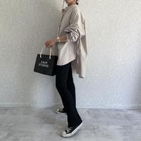 【OUTLET】サイドリボンタイプライタバンドカラービッグシャツ(グレー)