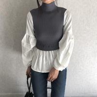 大人可愛いレイヤード風!ボリューム袖シャツ×プチハイネックリブニット(2color)【クリックポスト対象商品】
