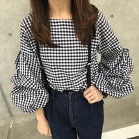 ギンガムチェックボリューム袖ブラウス【クリックポスト対象商品】
