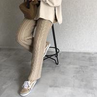 おしゃれな大人リラックスstyle!ケーブル編みニットパンツ(2color)