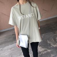 バックロング裾スリット!DISTANCEロゴビッグtシャツ(3color)【クリックポスト対象商品】