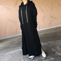 【期間限定価格!】裾スリットフレアデザイン!ゆったりロングパーカーワンピース(3color)