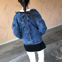 BACKレースアップ抜き襟Gジャン【クリックポスト対象商品】