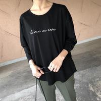 ほどよいゆるっと感!刺繍ロゴ7分袖Tシャツ(2color)【クリックポスト対象商品】