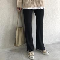 美シルエット裾スリットデザイン!センターシームフレアニットパンツ(3color)【クリックポスト対象商品】