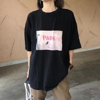 再入荷!ユニセックス!バックラベル付プリントビッグtシャツ(2color)【クリックポスト対象商品】