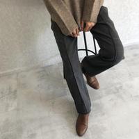 ピンタックセミフレアチェック柄パンツ(3color)