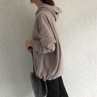 【10月29日再入荷!】長さ調節可能!裾絞りデザインオーバーサイズ裏起毛パーカー(3color)