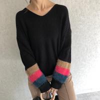 袖3色シャギーデザイナー!ざっくりVニット