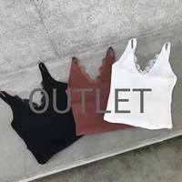 【OUTLET】再入荷!ラグジュアリーリブ編みひげレースキャミソール(3color)【クリックポスト対象商品】