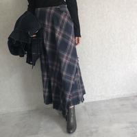 ウエストゴム!巻きスカート風チェック柄ロングスカート (2color)