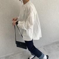 2月27日再入荷!【2021ss】バックロングデザイン!ゆる可愛いノーカラーシャツ(2color)【クリックポスト対象商品】