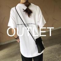 【訳ありOUTLET!】バックロング裾スリット!バックロゴプリントビッグtシャツ 【クリックポスト対象商品】