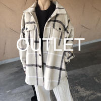 【OUTLET】大人カジュアル!オーバーサイズチェック柄シャツジャケット
