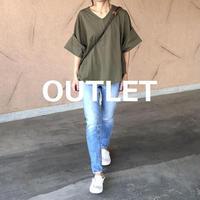 【OUTLET】ゆる可愛い!袖ロールアップVネックTシャツ (3color)【クリックポスト対象商品】