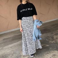 ウエストゴム!レオパードフレアロングスカート (2color)【クリックポスト対象商品】