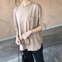 5分袖バックロング綿麻Tシャツ(2color)【クリックポスト対象商品】