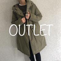 【OUTLET】大人カジュアルスタイル!フード中綿ミディ丈コート(2color)