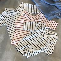 2WAYシンプルボーダーVネックTシャツ(3color)【クリックポスト対象商品】