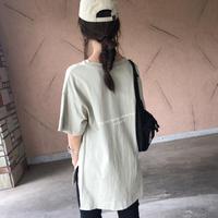 バックロング裾スリット!バックロゴプリントビッグtシャツ (3color)【クリックポスト対象商品】