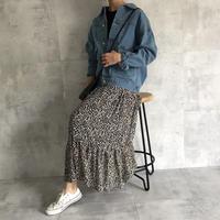 裾ティアードレオパード柄ロングスカート