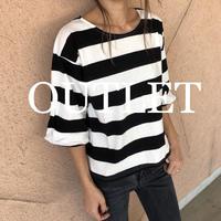 【OUTLET】ゆったりバルーン袖ワイドボーダーTシャツ【クリックポスト対象商品】
