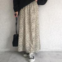 ダルメシアン柄フレアロングスカート【クリックポスト対象商品】