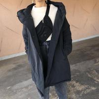 人気シリーズ!軽量で暖かくマットな質感!フード中綿ミディ丈コート