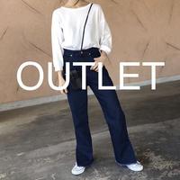 【OUTLET】裾スリット入り!オーガニックソフトフレアデニムパンツ【クリックポスト対象商品】