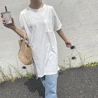 胸ポケットシンプルロングTシャツ(3color)