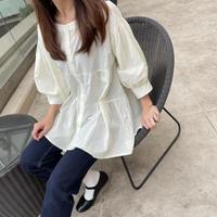 【OUTLET】フレアデザインシャツ(アイボリー)