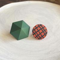 六角形&サークルイヤリング(セット) グリーン/オレンジ(チェック)