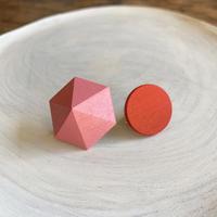 六角形&サークルイヤリング(セット) ピンク/オレンジ